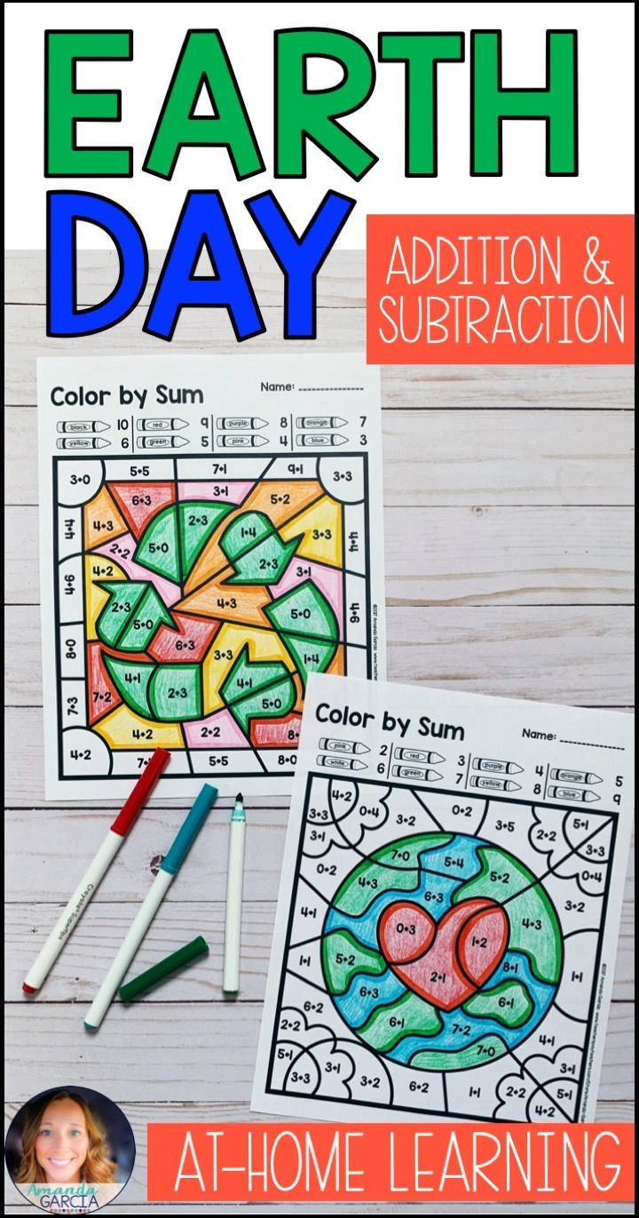 Color By Number Earth Day Addition Subtraction Addition And Subtraction Fun Math Activities Fun Math [ 1371 x 720 Pixel ]
