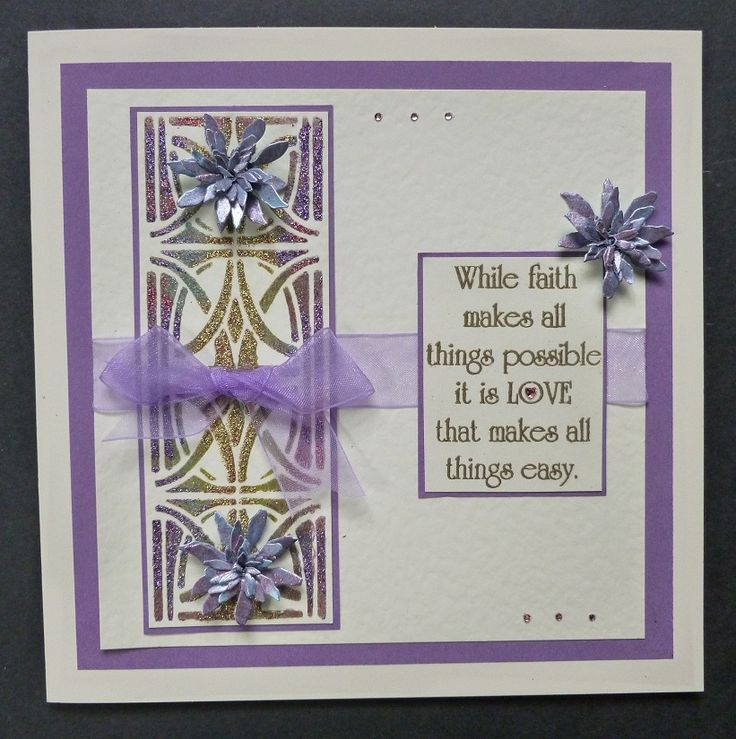 'Love & Faith' card - Imagination Craft's- Magi-bond glue.  Crushed strawberry, Golden delicious & Bilberry pie Sparkle Mediums.  Metal spatula.  Rectangles stencil.  Lilac blue, Chartreuse, Lavender & Bright maroon Starlight paints.  Sizzix flower die.  Versamark pad.  Gold embossing powder.   'Only Words' stamp.   May 2017.   Designed by Jennifer Johnston.
