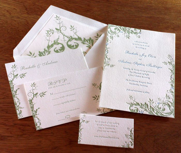 The delicate floral vines of our savannah design is the perfect motif for a garden or summer wedding.  | Invitations by Ajalon | http://invitationsbyajalon.com/