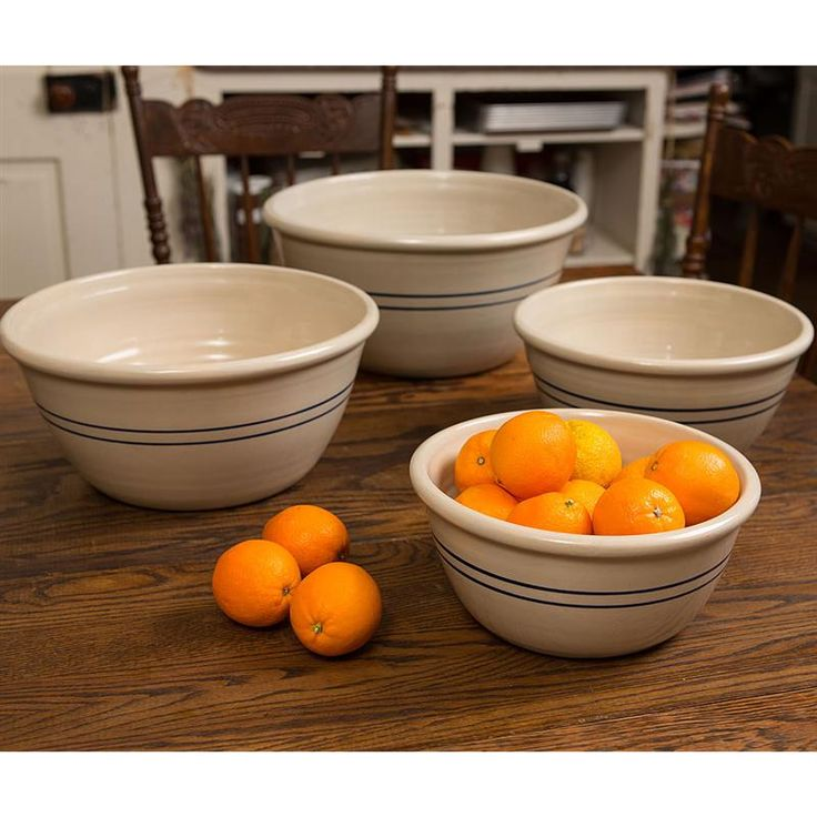 heritage blue stripe stoneware mixing bowls set of 4 traditional mixing bowls and ceramics. Black Bedroom Furniture Sets. Home Design Ideas