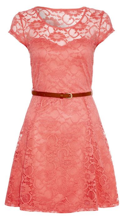 Pink Lace Belted Cap-Sleeve Dress