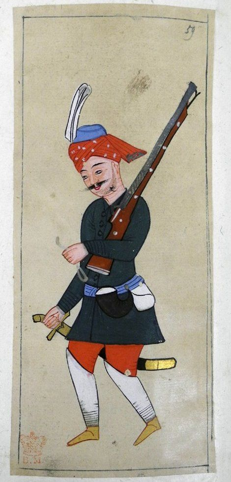 Seyban. Foot soldier wearing a green tunic, red trousers, white leg protectors, yellow ankle boots and red turban with blue cap and plume. Carrying a fuse and matchlock and wearing an ammunition pouch and powder horn.