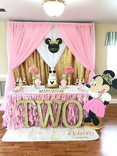 Minnie Mouse Birthday Party Ideas Gold And Light Pink Girls Decor