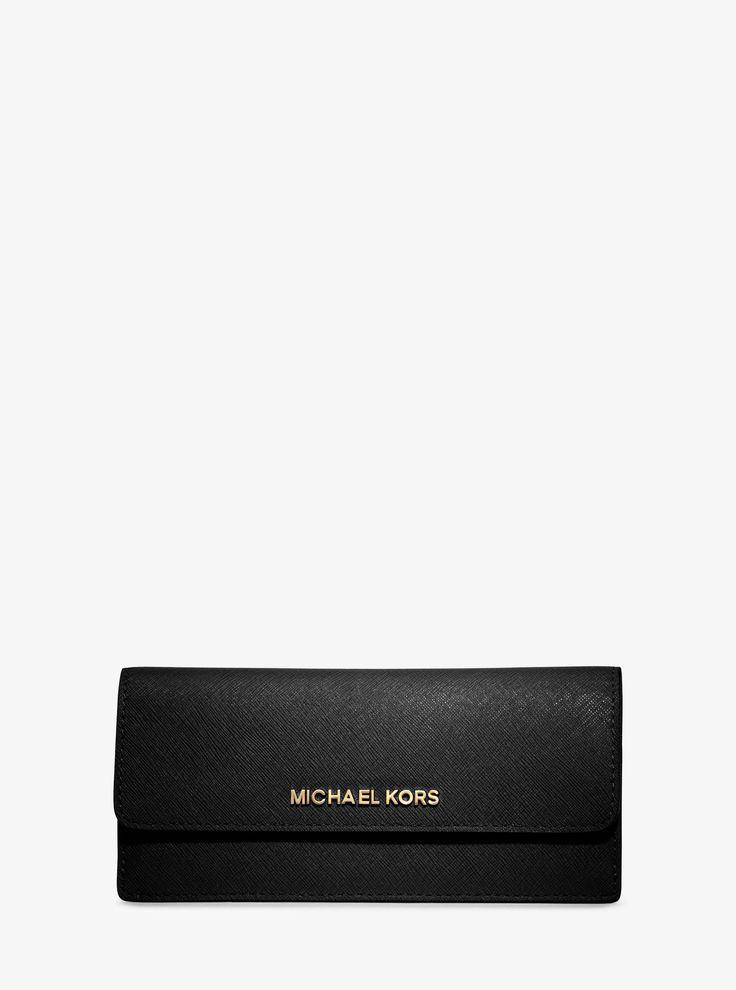 MICHAEL KORS Jet Set Travel Slim Saffiano Leather Wallet. #michaelkors #
