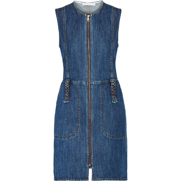 See by Chloé Denim mini dress (1.035 BRL) ❤ liked on Polyvore featuring dresses, braided belts, blue dress, short denim dress, zipper dress and denim dress