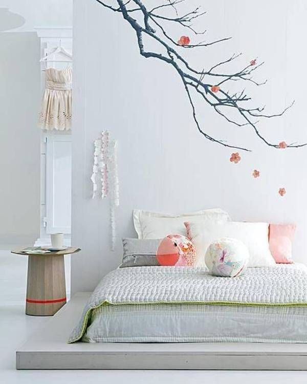 Japanese style bedroom in white and coral