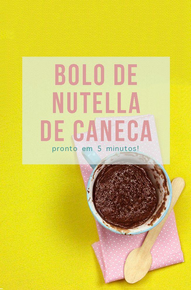 Receita de microondas: cinco minutos e você tem um bolo de caneca de Nutella! // Receitas de pratos doces, rápidos e fáceis! :-) // palavras-chave: receita, passo a passo, tutorial, gastronomia, cozinha, receita, bolo de caneca, sobremesa, receita rápida, rápida, fácil, microondas,