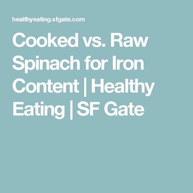 Cooked vs. Raw Spinach for Iron Content | Healthy Eating | SF Gate