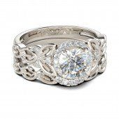 Jeulia Art Deco Milgrain Round Cut Created White Sapphire Wedding Set 1 .5CT - Jeulia Jewelry