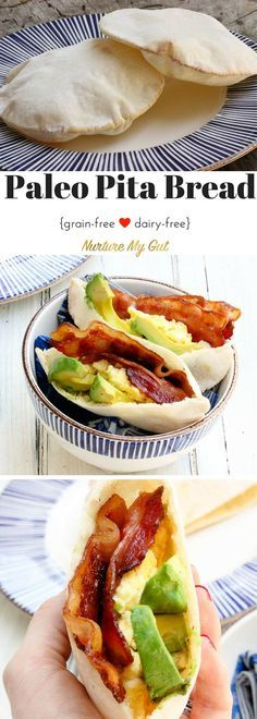 Craving Pita Bread? Look no further! These pitas puff up perfectly in the oven and are an insanely good breakfast when stuffed with scrambled eggs, avocado and bacon. Gluten free/Grain Free/Dairy Free