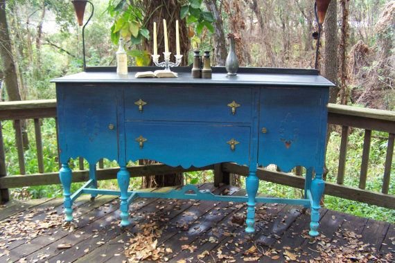Buffet by junkdrawerdivas on Etsy, $695.00: Colors Combos, Diy Ombre, Blue Buffets, Home Decor Ideas, Painting Furniture, 450 00, Ombre Painting, 479 00, Furniture Ideas
