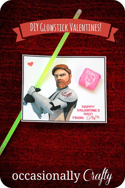 Glow Stick (or Pixie Stick) Star Wars Valentine | Occasionally Crafty.   For 50 more FREE #Valentine Printables, click the image.