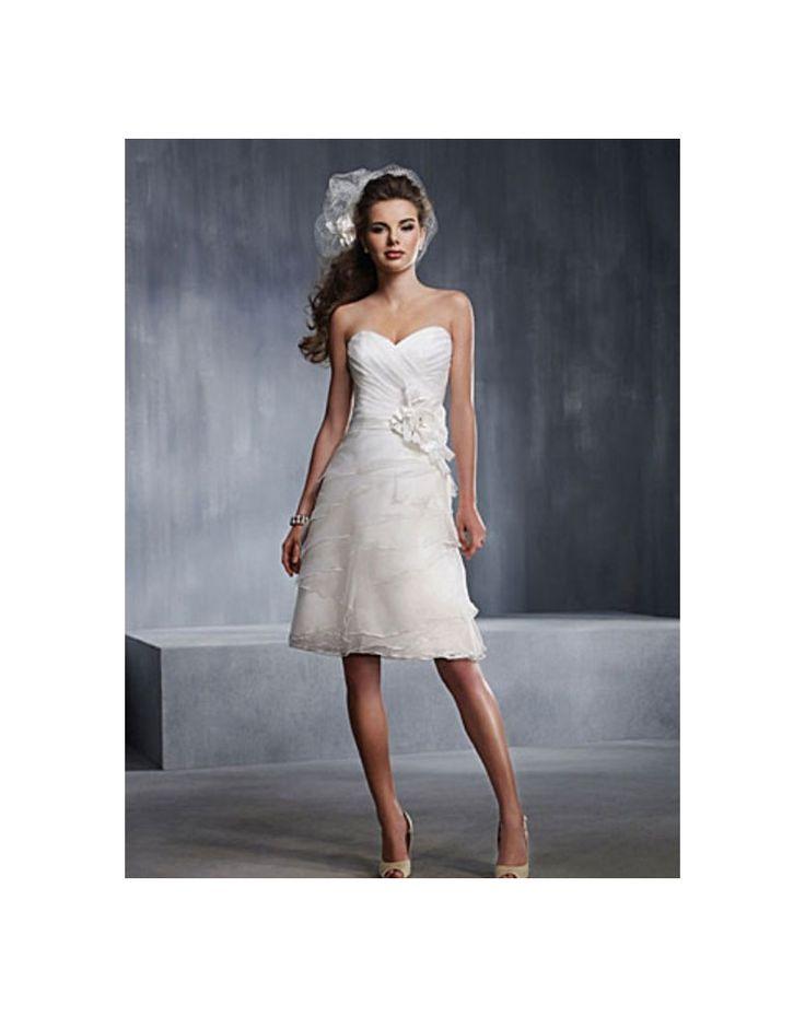 Robe de mariée à volants en organza décolletée en coeur avec applique longue aux genoux - belle FR