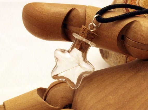 Dandelion wish star glass vial pendant with dandelion by XercesArt, £8.00