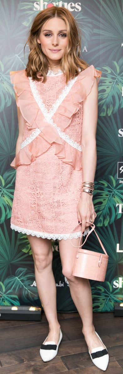 Who made Olivia Palermo's pink lace dress, gold watch, and white bow pumps?