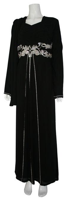 #gamis terusan untuk pasangan jilbab segitiga - Black Jilbab