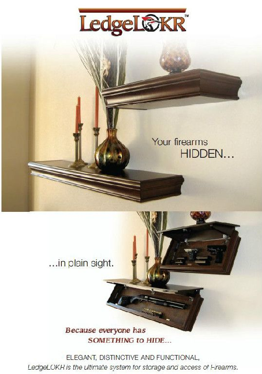 Hidden gun storage in a shelf. Great for hiding in common rooms like a living room (and can be put high enough to be out of reach of kids).