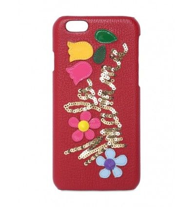 Suitable for iPhone 6. Not for iPhone 6 Plus. Sequins . Leather patches . Logo detail. Studded details . Made in Italy