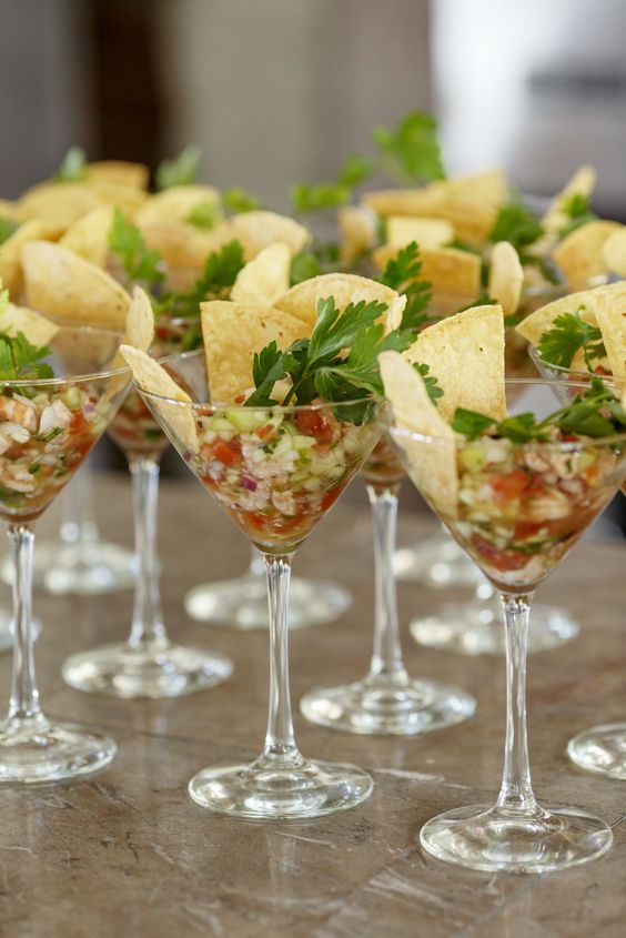 Wedding appetizers - Shrimp ceviche in a martini glass.: