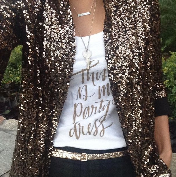 """sequin blazer, glitter belt and """"this is not my party dress"""" tank #holiday #sparkle"""