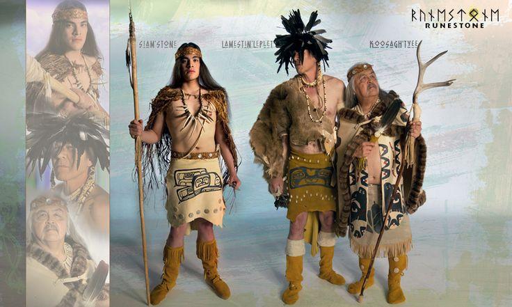 "RUNESTONE Vignettes: Members of the ""Neahkahnie"" fishing tribe, Siam'Stone the warrior, Lamestin'Leplet the shaman, and Koosagh'Tyee the chief."