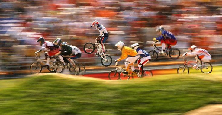 Recta final de BMX celebrado en el Laoshan Bicycle Moto Cross Venue durante el Día 14 de los Juegos Olímpicos de 2008