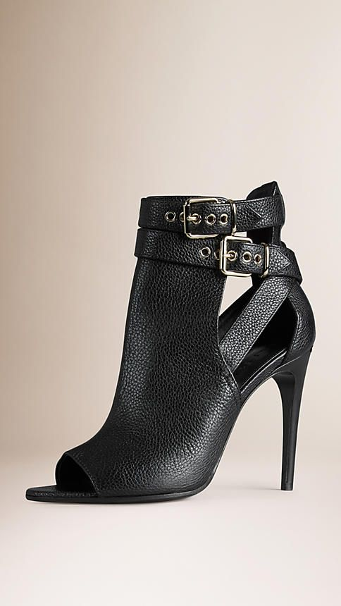 Black Buckle Detail Leather Peep-toe Ankle Boots - Image 1