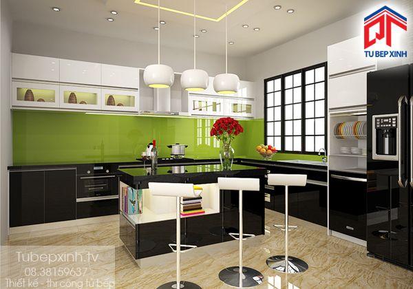 Tu bep - tủ bếp gỗ TB017G. Tủ bếp gỗ công nghiệp Acrylic bóng gương với bề mặt chống trầy, chất liệu lõi xanh chống ẩm phù hợp dùng làm tủ bếp nơi tiếp xúc nhiều với nước. Với không gian bếp lớn, tủ bếp chữ L ôm sát tường bên cạnh đó sự kết hợp đảo bếp ở giữa làm cho không gian bếp thêm hiện đại.