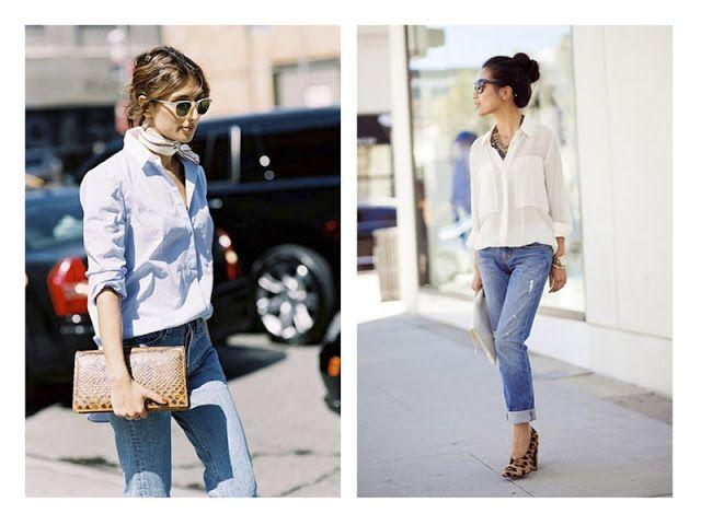 Акценты в образе: клатч с текстурой и леопардовые туфли с джинсами и белой рубашкой