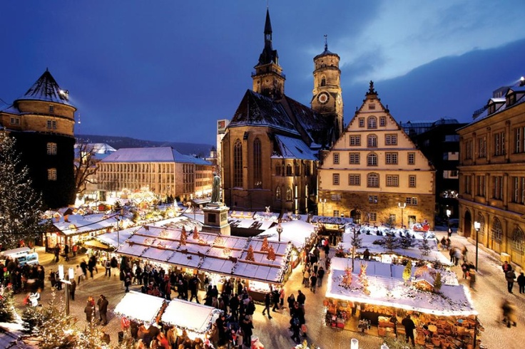 Christmas market, Stuttgart, Germany, a magical place during a snowfall
