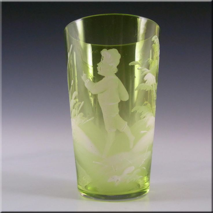 Mary Gregory Bohemian Hand Enamelled Green Glass Tumbler #2 - £30.00