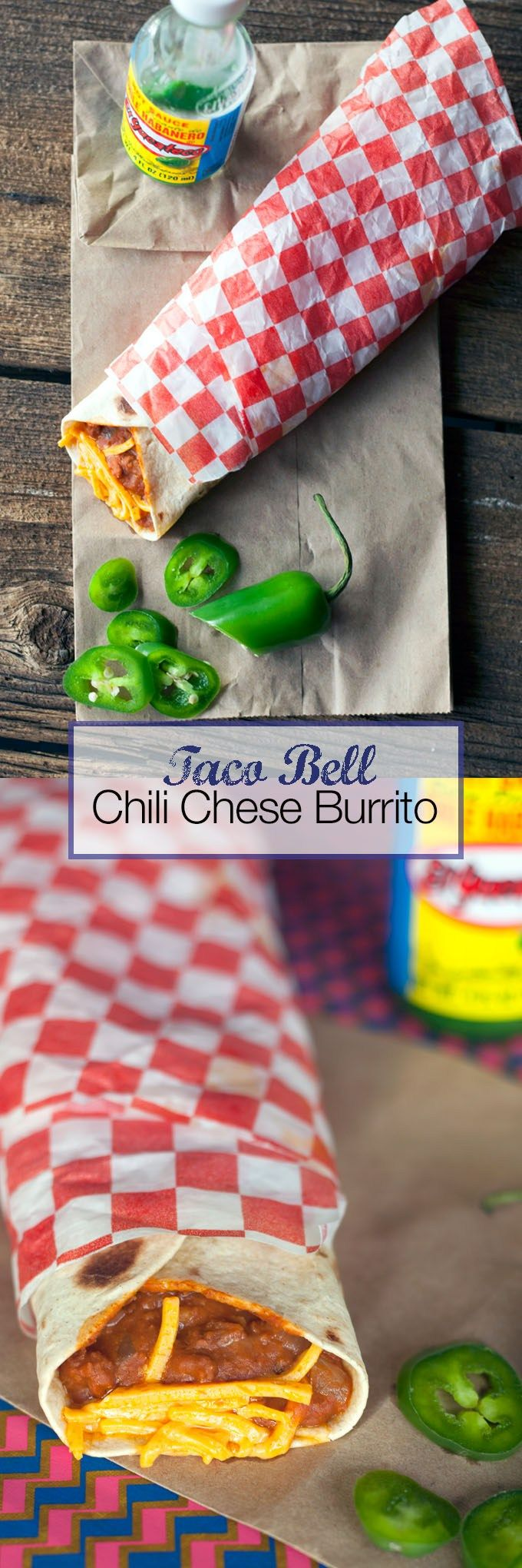 A copycat recipe for the Taco Bell chili cheese burrito. This burrito combines chili flavored vegetarian ground beef, refried beans and vegan cheddar cheese in a tortilla. This Taco Bell recipe is super easy and so delicious.  Chili cheese burrito recipe, VEGAN