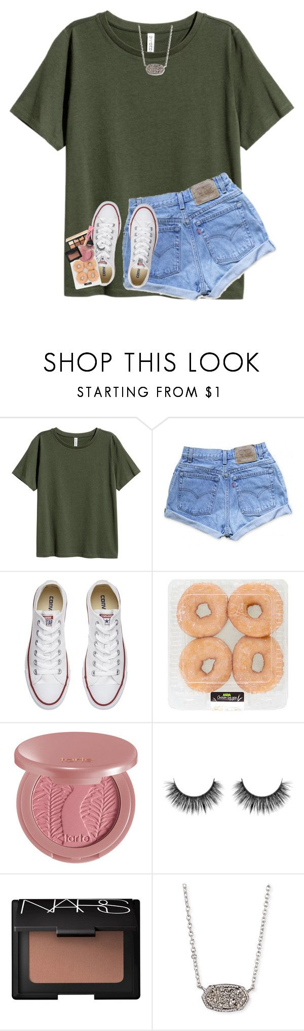 """donut revolution"" by lindsaygreys ❤ liked on Polyvore featuring Levi's, Converse, NARS Cosmetics, tarte, Kendra Scott and Too Faced Cosmetics"