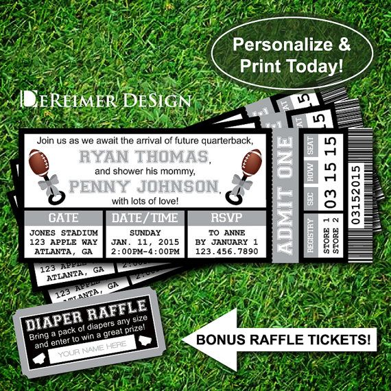 Sports Ticket Baby Boy Shower Invitation, Raiders, Oakland, Football, Gray and Black, Instant Download, DIY +BONUS Diaper Raffle Tickets by DeReimer DeSign. $10.50