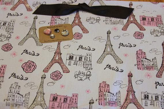 "Magnetic Board-Paris, Eiffel tower, Fabric Covered Magnet Bulletin Board (18"" x 12"") , Pink and black, Girl's room, vintage style, French"