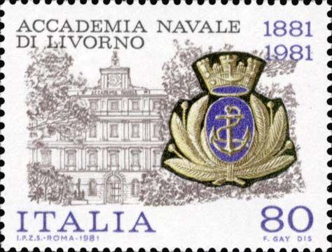 Emesso il 24 luglio 1981 80 L. - Accademia di Livorno e fregio della marina
