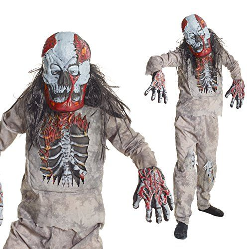 Boys Infected Zombie Skeleton Fancy Dress Costume - 4 Piece Quality CostumeMed (48-53 Ins/122cm-134cm)Gray @ niftywarehouse.com #NiftyWarehouse #Zombie #Horror #Zombies #Halloween
