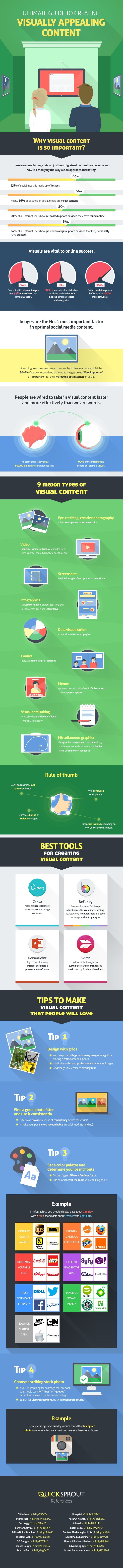 In this infographic, created by Quicksprout, you'll discover why visual content is so important, what types of visual content work best in social media, 4 best tools and tips for creating visually appealing content.