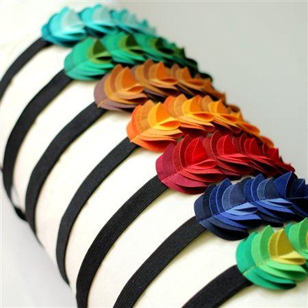 Waterlily headband made from recycled fabrics.
