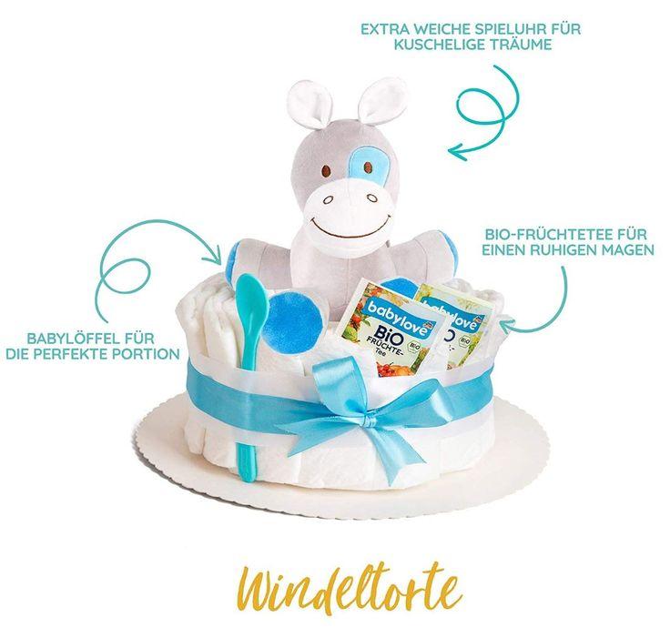 Junge Geburt Geschenkidee Kinder Geschenkidee | Windeltorte in blau mit Pony Spieluhr   – Junge Geburt Geschenkidee Kinder Geschenk Idee