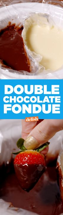 This Double Chocolate Fondue is the most brilliant slow-cooker party hack. Get the recipe from Delish.com.