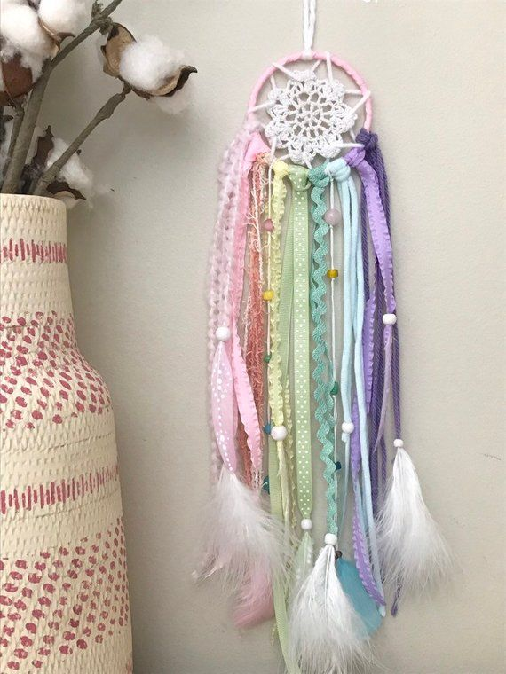 Retro Handmade Blue Feather Dreamcatcher Bedroom Wall Hanging Party Decor