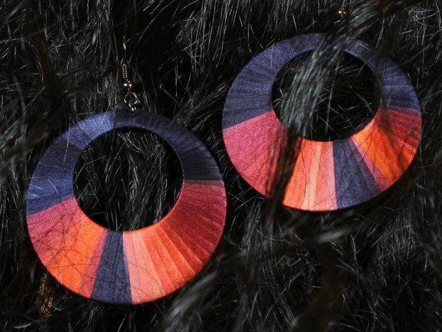 Unique handcrafted, colorful silk earrings, hoop earrings by intuitashop on Etsy