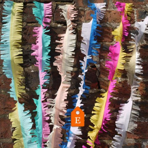 Our two-tone fringed streamers are now available! They look great having a wee💃🏻at a 🎉or gathered to make a 🦄 tail!  There is a stitched colour combo for each of our signature collections - decor to fit every colour palette!