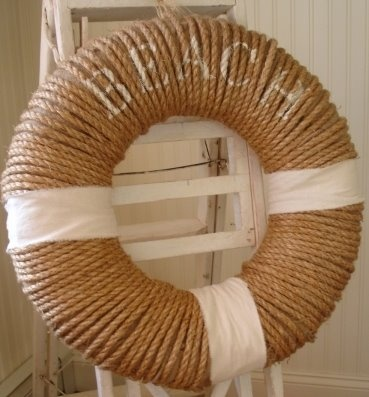 nautical twine-wrapped wreath
