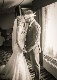 This blindfolded groom is going to have to wait to see his beautiful bride | Colonial Hotel in Gardner, MA | Joe Dolen Photography
