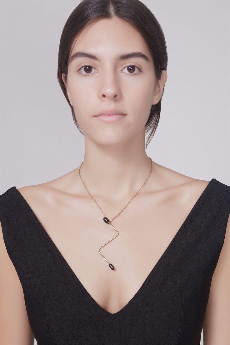 SOFIA VAMIALI - BLACK ROD ZIGZAG NECKLACE #jewellery #sofia #vamiali #necklace
