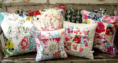 pillows made from vintage linens (tablecloths) by into vintage.