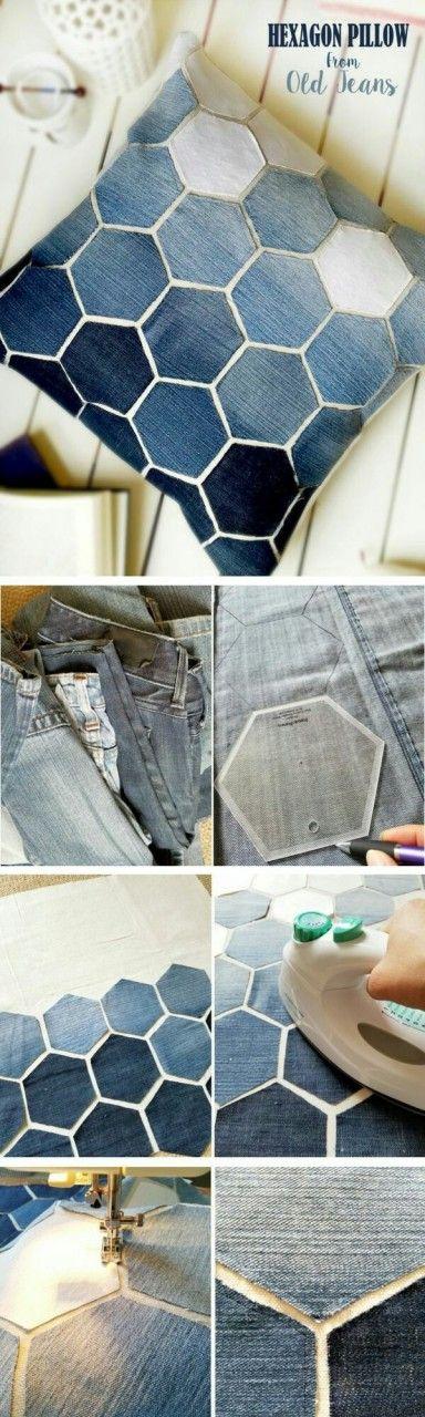 Подушка из джинсов и кожи (diy) — HandMade