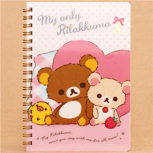 dotted Rilakkuma teddy bear heart ring binder notebook